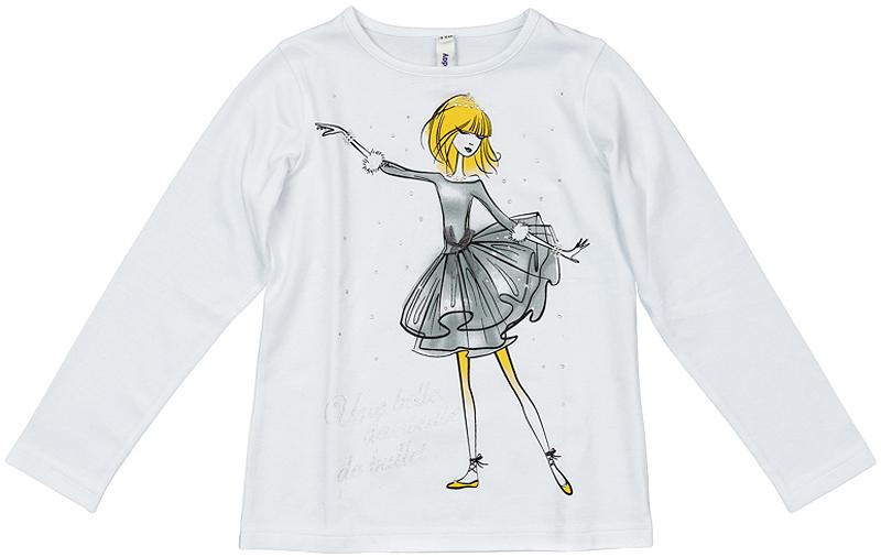 362165Уютная хлопковая футболка с длинными рукавами. На воротнике мягкая резинка. Украшена ярким водным принтом с балериной и блестящими стразами.