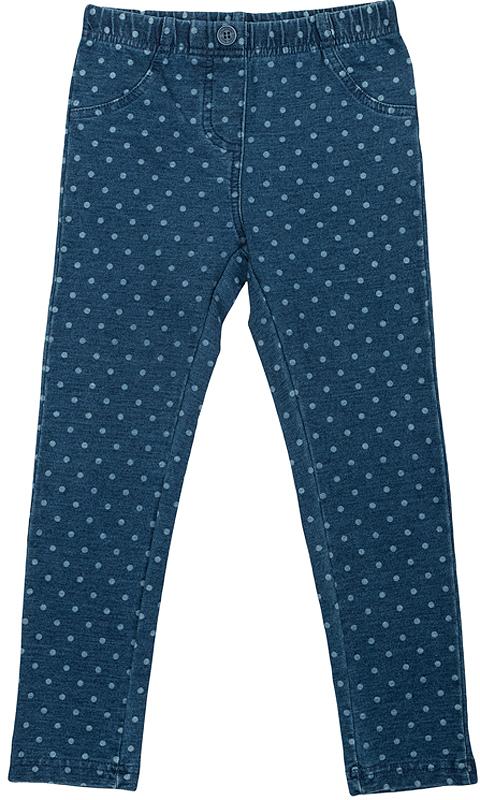 Джинсы362173Стильные брюки из эластичного футера с имитацией денима. Украшены принтом в белый горошек. Застегиваются на кнопку, пояс на резинке.
