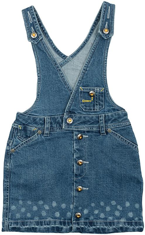 Сарафан362175Стильный джинсовый сарафан с модными потертостями. Украшен горошком в стиле вытравки по низу. Есть 4 кармашка. Полностью распашной, застегивается на кнопки - ребенок может одеваться самостоятельно.