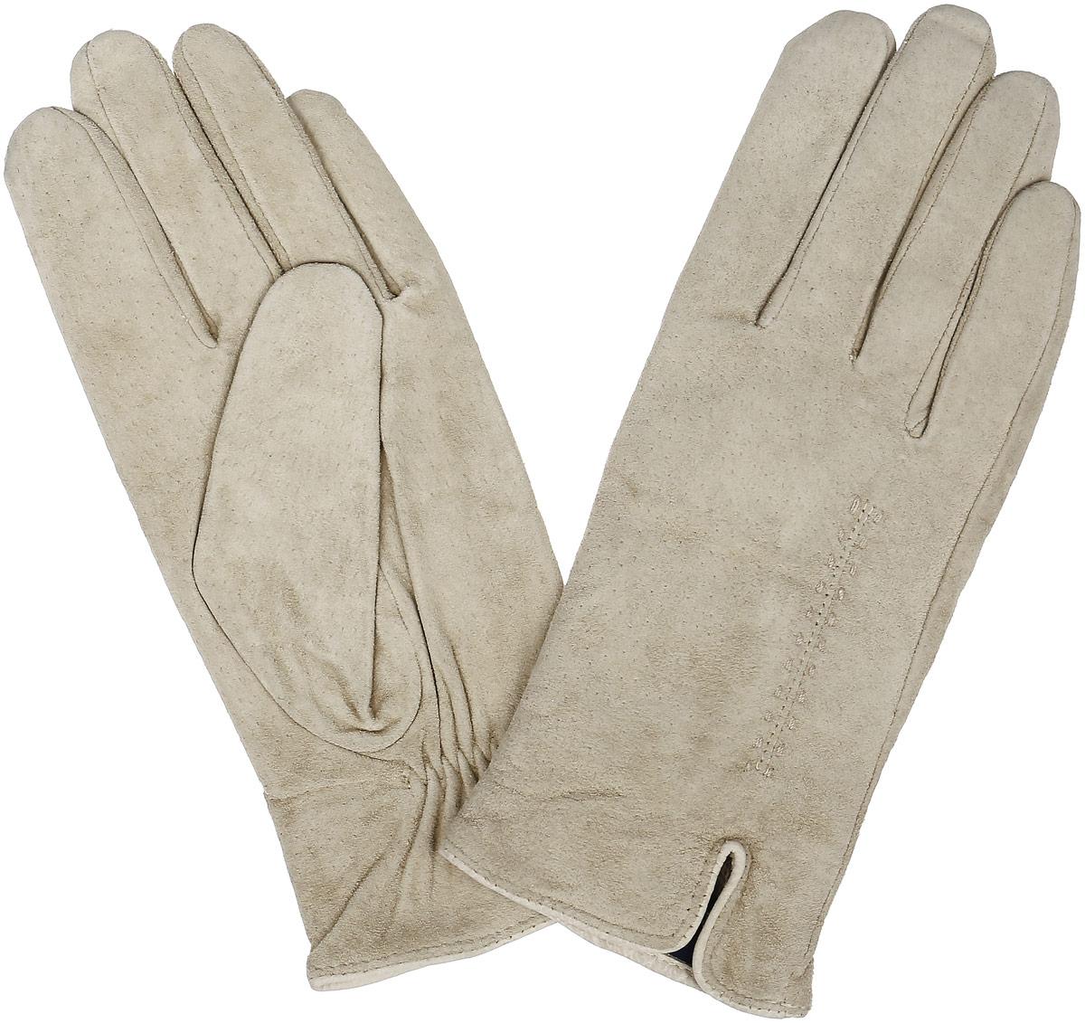 ПерчаткиS13_ALINA/BEIGE//11Стильные перчатки Dali Exclusive с шерстяной подкладкой выполнены из мягкой и приятной на ощупь натуральной замши. Лицевая сторона оформлена декоративными стежками и дополнена небольшим разрезом. Такие перчатки подчеркнут ваш стиль и неповторимость и придадут всему образу нотки женственности и элегантности.