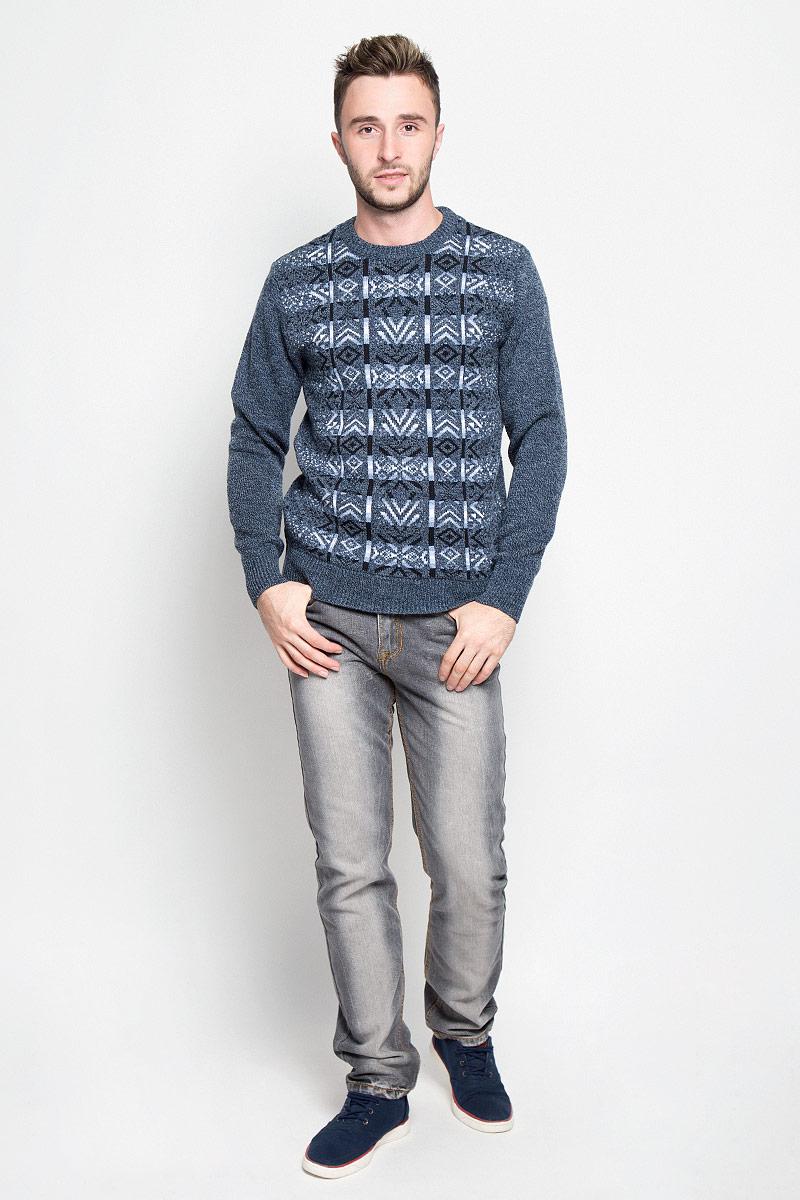 Джемпер1609Вязаный мужской джемпер Milana Style изготовлен из мягкого и приятного на ощупь материала. Изделие не стесняет движений и хорошо сохраняет тепло. Модель с круглым вырезом горловины и длинными рукавами оформлена геометрическим узором. Манжеты и низ изделия связаны резинкой. Джемпер - идеальный вариант для создания образа в стиле Casual. Он подарит вам комфорт в течение всего дня!