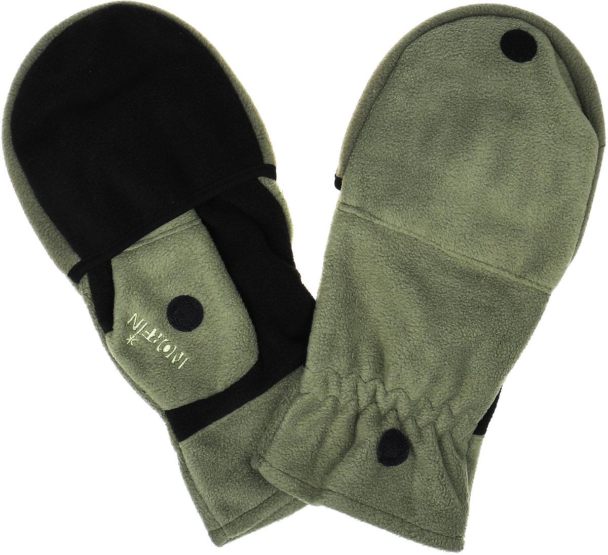 701103Перчатки-варежки Norfin 73 защитят ваши руки. Они хорошо сохраняют тепло, мягкие, идеально сидят на руке. Перчатки-варежки выполнены из флиса. Изделие представляет собой перчатки без пальцев, к внешней стороне которых крепится капюшон, накинув его на пальцы, перчатки превращаются в варежки. На большом пальце имеется отверстие. Капюшон фиксируется на перчатке при помощи липучки.