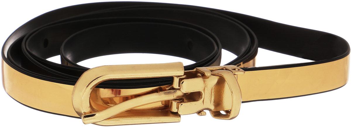 Ремень91/0219/999Узкий ремень золотистого цвета с глянцевой поверхностью выполнен из искусственной кожи, декорирован пряжкой в цвет ремня. Длина: 110,5 см, ширина: 0,9 см