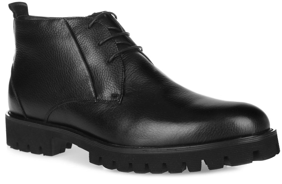 M24141MСтильные мужские ботинки от Vitacci придутся вам по душе. Модель выполнена из натуральной зернистой кожи. Классическая шнуровка и боковая молния надежно зафиксируют изделие на ноге. Внутренняя поверхность и стелька из натурального меха обеспечивают комфорт и сохранение тепла. Рифление на подошве и каблуке гарантирует идеальное сцепление с любой поверхностью. Модные ботинки - необходимая вещь в гардеробе каждого мужчины.