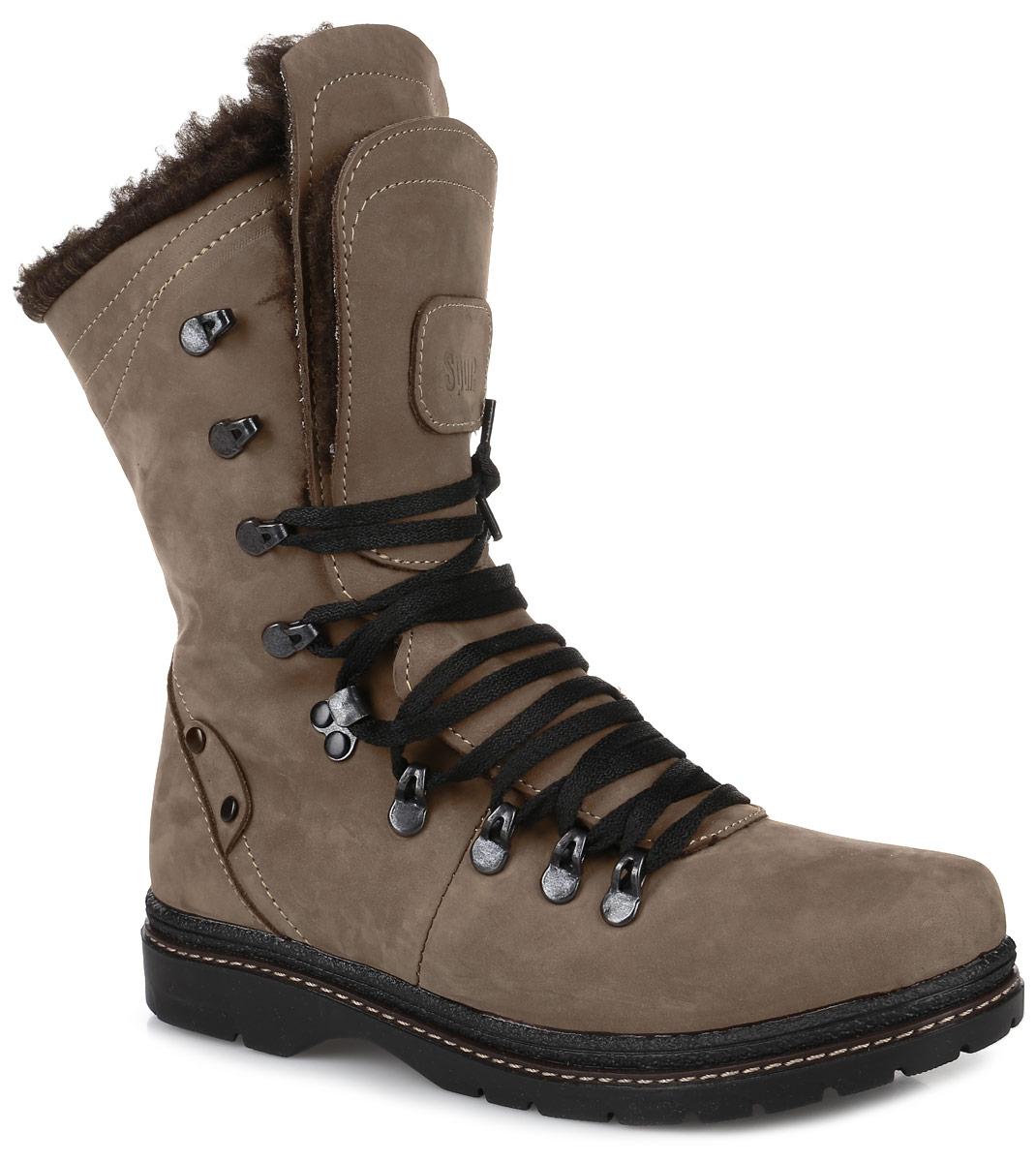 11SI_230_BROWN.NСтильные ботинки Spur, выполненные из натурального нубука, придутся вам по душе. Модель оформлена крупной прострочкой по ранту, двойной язычок декорирован тиснением в виде логотипа бренда, шнурки, продетые через металлические петли, надежно зафиксируют изделие на ноге. Внутренняя поверхность и стелька из натуральной шерсти отлично сохранят тепло, обеспечат комфорт и уют вашим ногам. Массивная подошва из прочного материала гарантирует длительную носку и сцепление с любой поверхностью. Модные ботинки сделают вас ярче и подчеркнут индивидуальность.