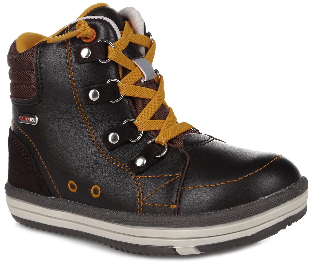 569285-1320Стильные ботинки от Reima Weather выполнены из натуральной кожи, задник оформлен вставкой из замши и логотипом бренда. Классическая шнуровка надежно зафиксирует изделие на ноге. Подкладка и стелька выполнены из текстиля, что обеспечивает комфорт и уют ногам. Язычок декорирован тиснением в виде логотипа бренда. Подошва изготовлена из прочного материала, обеспечивающего длительную носку и хорошее сцепление с любой поверхностью. В комплекте предусмотрена дополнительная пара шнурков.