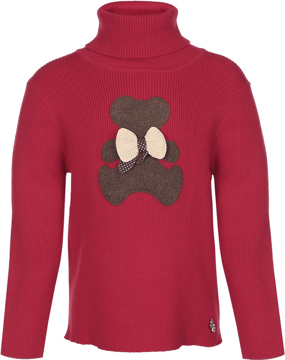 Свитер205263Стильный вязаный свитер для девочки Sweet Berry идеально подойдет вашей маленькой принцессе. Изготовленный из хлопка с добавлением акрила, он необычайно мягкий и приятный на ощупь, не сковывает движения малышки и позволяет коже дышать, не раздражает даже самую нежную и чувствительную кожу ребенка, обеспечивая ему наибольший комфорт. Свитер с длинными рукавами и высокой горловиной «гольф» на груди оформлен аппликацией в виде мишки с бантиком. Оригинальный дизайн и модная расцветка делают этот свитер стильным и модным предметом детского гардероба. В нем вашей малышке будет уютно и тепло, и она всегда будет в центре внимания!