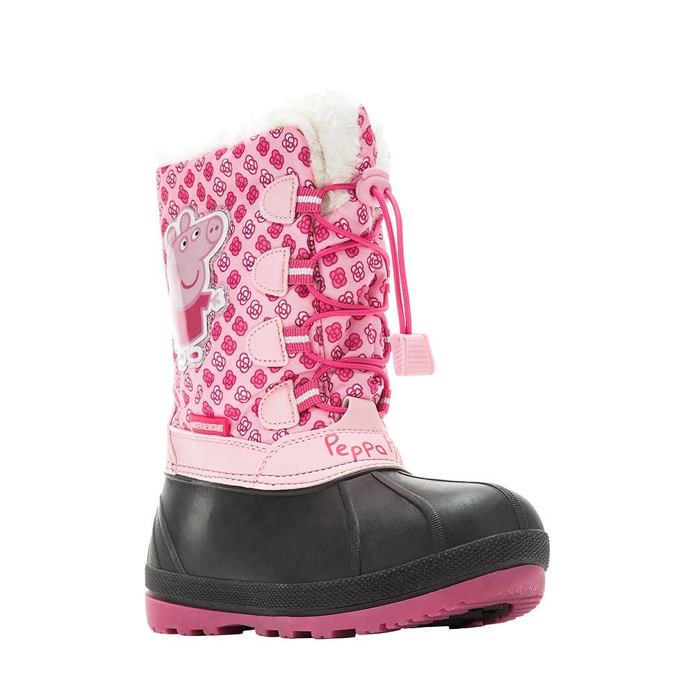 6465AДутики Peppa Pig от Kakadu непременно понравится как маленьким непоседам, так и их заботливым родителям. Модель, выполненная из текстиля и синтетической кожи по технологии Water-resistant, гарантирует непромокаемость. Подкладка из искусственно шерсти обеспечивает ногам тепло и сухость при любых климатических условиях. Съемную стельку всегда можно вынуть или заменить. Подошва из термопластичной резины отличается хорошей сцепляемостью с поверхностью и высокой пружинистостью. Благодаря этим качествам дети могут совершать длительные прогулки без чувства усталости в ногах. Детские дутики оформлены ярким изображением свинки Пеппы. Застежка-молния надежно фиксирует изделие на ноге. Эластичная шнуровка со стоппером по голенищу позволяет легко подобрать оптимальный объем.