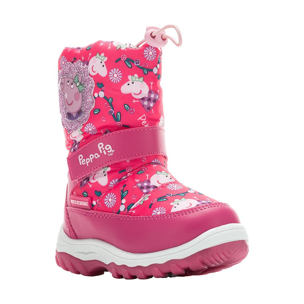 6459CДутики Peppa Pig от Kakadu непременно понравится как маленьким непоседам, так и их заботливым родителям. Модель, выполненная из текстиля и синтетической кожи по технологии Water-resistant, гарантирует непромокаемость. Укрепленные носок и пятка обладают необходимой степенью жесткости для поддержания формы на протяжении всего периода использования. Подкладка из шерсти обеспечивает ногам тепло и сухость при любых климатических условиях. Съемную стельку всегда можно вынуть или заменить. Подошва из ПВХ отличается хорошей сцепляемостью с поверхностью и высокой пружинистостью. Благодаря этим качествам дети могут совершать длительные прогулки без чувства усталости в ногах. Детские дутики оформлены ярким изображением свинки Пеппы. Застежка-молния и хлястик на липучке надежно фиксируют изделие на ноге. Эластичная шнуровка со стоппером по голенищу позволяет легко подобрать оптимальный объем.