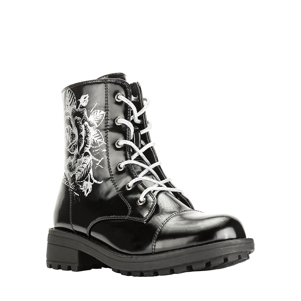 6281CУльтрамодные ботинки от Kakadu придутся по душе, как юным модницам, так и их заботливым родителям. Модель выполнена из синтетической кожи и оформлена очаровательным принтом. Застежка-молния надежно фиксирует изделие на ноге. Классическая шнуровка позволяет легко подобрать оптимальный объем. Подкладка из искусственной шерсти обеспечивает ногам тепло и сухость при любых климатических условиях. Подошва из термопластичной резины обеспечит легкость и естественную свободу движений.