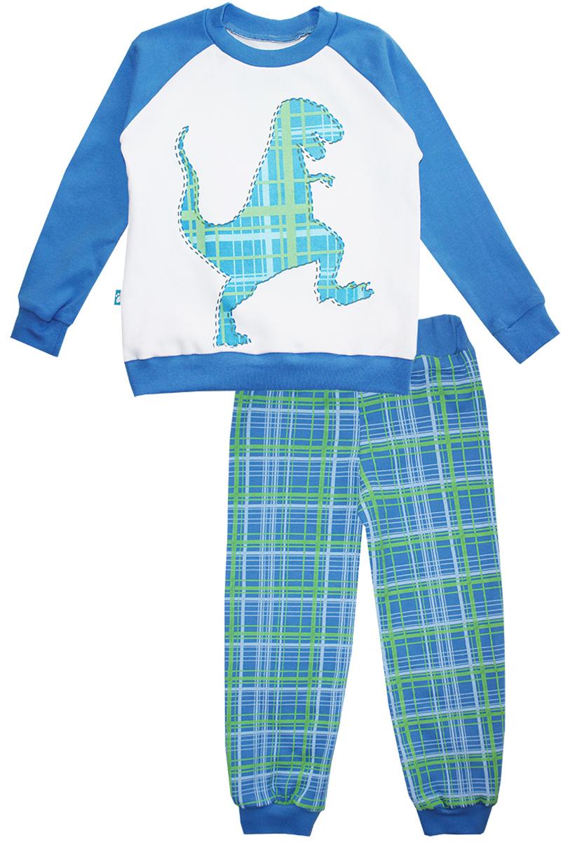 Пижама16551Пижама для мальчика КотМарКот Дино включает в себя лонгслив и брюки. Пижама изготовлена из натурального хлопка. Лонгслив с длинными рукавами-реглан и круглым вырезом горловины оформлен принтом с изображением силуэта динозавра. Свободные брюки с широкой эластичной резинкой на поясе дополнены трикотажными манжетами по низу брючин. Модель украшена принтом в клетку.