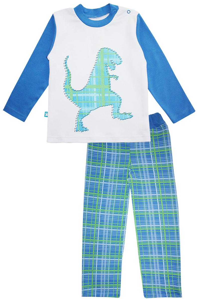 16651Пижама для мальчика КотМарКот Дино включает в себя лонгслив и брюки. Пижама изготовлена из натурального хлопка. Лонгслив с длинными рукавами и круглым вырезом горловины дополнен двумя кнопками на плече для удобства переодевания. Лонгслив оформлен принтом с изображением силуэта динозавра. Свободные брюки с широкой эластичной резинкой на поясе дополнены трикотажными манжетами по низу брючин. Модель украшена принтом в клетку.