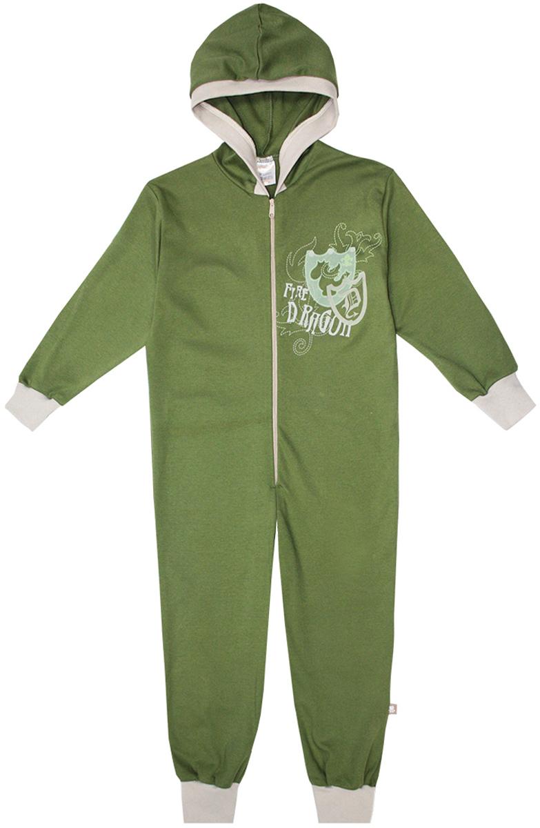 Пижама16953Удобная пижама-комбинезон КотМарКот Дракон, выполненная из натурального хлопка, она очень мягкая на ощупь, не раздражает даже самую нежную и чувствительную кожу ребенка. Пижама с длинными рукавами и несъемным капюшоном имеет застежку- молнию спереди. Кромка капюшона, манжеты и низ брючин выполнены из трикотажной резинки. Оформлена модель контрастным принтом с надписями.
