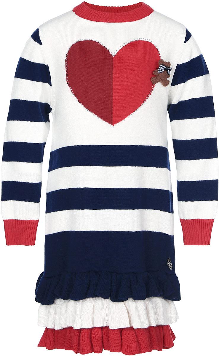 205265Стильное платье для девочки Sweet Berry идеально подойдет вашей дочурке в прохладное время года. Изготовленное из качественного материала, оно необычайно мягкое и приятное на ощупь, не сковывает движения малышки и позволяет коже дышать, не раздражает даже самую нежную и чувствительную кожу ребенка, обеспечивая ему наибольший комфорт. Вязаное платье с длинными рукавами и круглым вырезом горловины, на груди украшено сердечком со стразами и дополнено брошкой в виде мишки с бантиком. Внизу изделие украшено очаровательными оборками, придающими изделию оригинальность. Низ рукавов, вырез горловины связаны мелкой резинкой. Это модное детское платье послужит отличным дополнением к гардеробу вашей маленькой принцессы. В нем она будет чувствовать себя уютно и комфортно, и всегда будет в центре внимания!