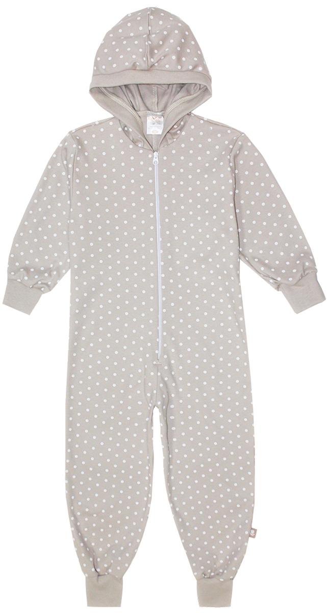 Пижама16950Удобная пижама-комбинезон КотМарКот, выполненная из натурального хлопка, она очень мягкая на ощупь, не раздражает даже самую нежную и чувствительную кожу ребенка. Пижама с длинными рукавами и капюшоном имеет застежку-молнию спереди. Кромка капюшона, манжеты и низ брючин выполнены из трикотажной резинки. Оформлена модель стильным принтом в горох.