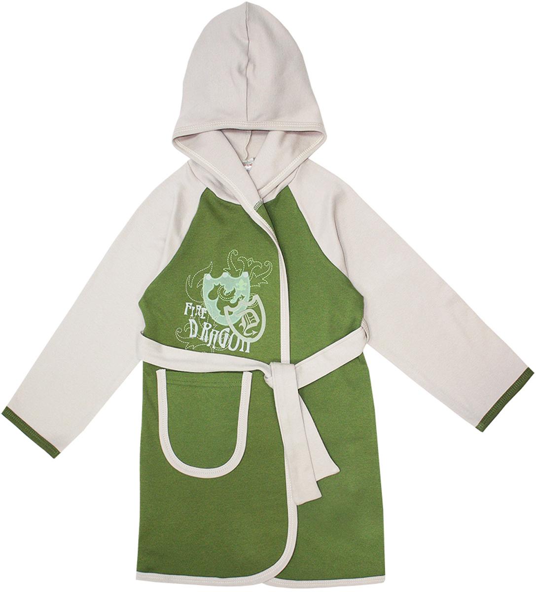 Халат12253Очаровательный халат для мальчика КотМарКот Дракон изготовлен из натурального хлопка. Халат с запахом затягивается поясом. Модель с длинными рукавами-реглан и капюшоном украшена оригинальным принтом. Спереди халат дополнен накладным карманом.
