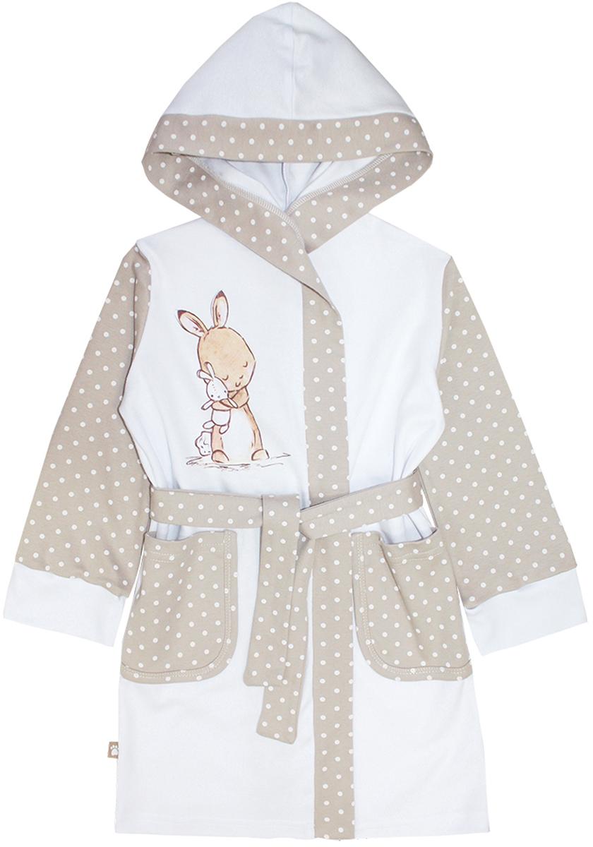 12150Уютный детский халат КотМарКот Зайчик выполнен из натурального хлопка. Модель с капюшоном и длинными рукавами дополнен поясом на талии. Оформлен халат стильным принтом в горох и изображением зайчика. Спереди изделие дополнено двумя накладными карманами.