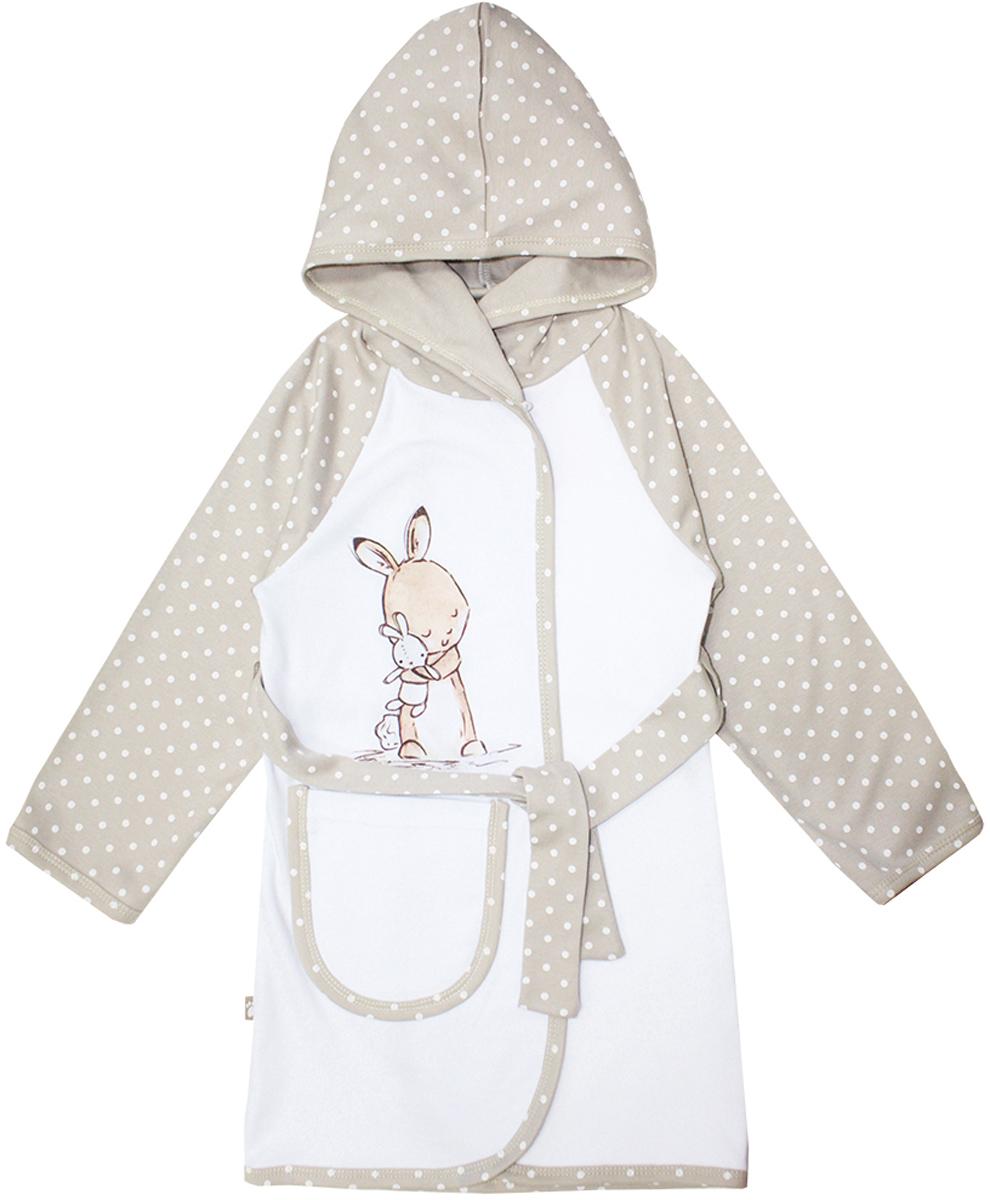 Халат12250Очаровательный халат для девочки КотМарКот изготовлен из натурального хлопка. Халат с запахом затягивается поясом. Модель с длинными рукавами-реглан и капюшоном украшена принтом в горох и изображением зайчика. Спереди халат дополнен накладным карманом.