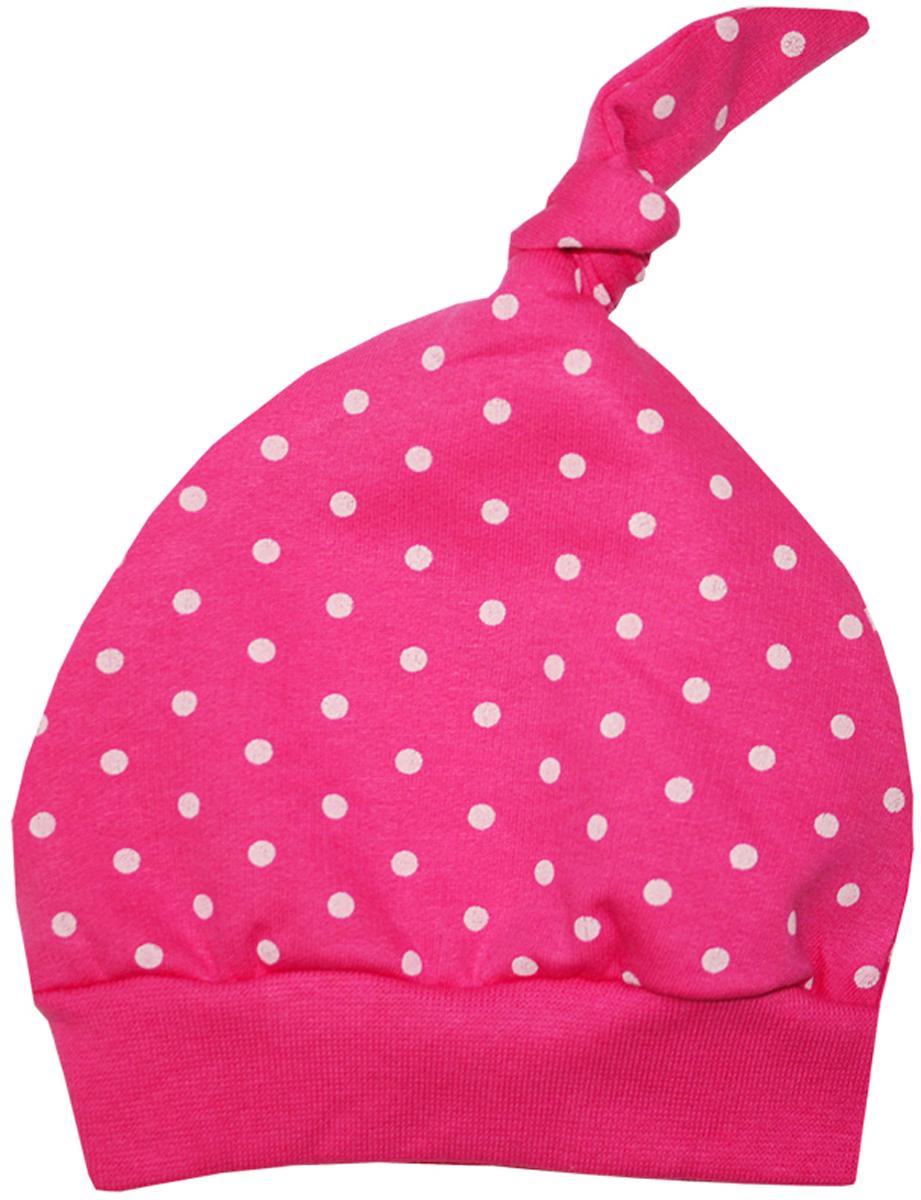 Шапочка8570Комфортная шапочка КотМарКот Дрим для девочки выполнена из натурального хлопка. На макушке шапочка дополнена очаровательным узелком. Модель оформлена принтом в горох. Уважаемые клиенты! Размер, доступный для заказа, является обхватом головы.