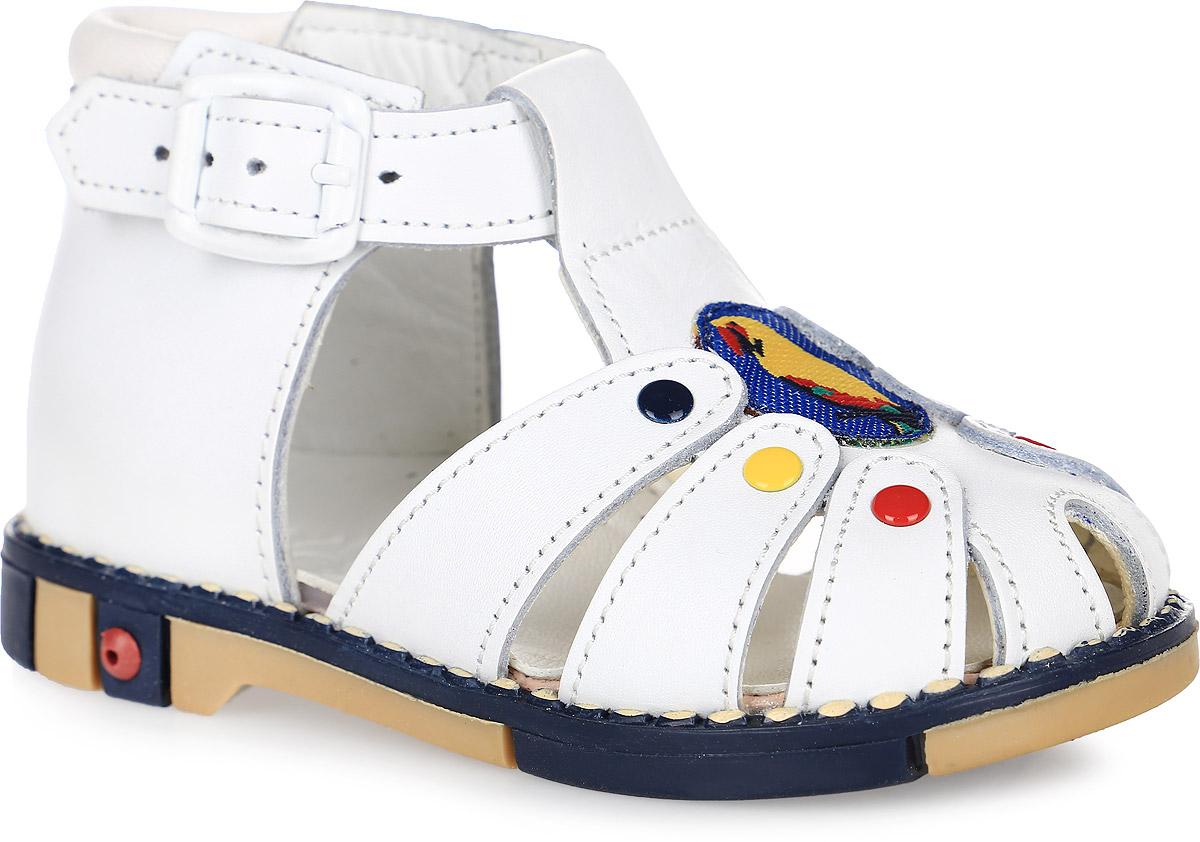 Tas221-01Стильные детские сандалеты Таши Орто заинтересуют вашего ребенка с первого взгляда. Модель выполнена из натуральной кожи контрастных цветов. Ремешок на застежке-пряжке помогает оптимально подогнать полноту обуви по ноге и гарантирует надежную фиксацию. Сбоку сандалеты декорированы символикой бренда. Анатомическая стелька из натуральной кожи супинатором, не продавливающимся во время носки, обеспечивает правильное формирование стопы. Благодаря использованию современных внутренних материалов оптимально распределяется нагрузка по всей площади стопы, что дает ножке ощущение мягкости и комфорта. Полужесткий задник фиксирует ножку ребенка. Мягкая верхняя часть, которая плотно прилегает к ножке, и подкладка, изготовленная из натуральной кожи, позволяют избежать натирания. Эластичная подошва с рельефным протектором предназначена для правильного распределения нагрузки на опорно-двигательный аппарат ребенка.