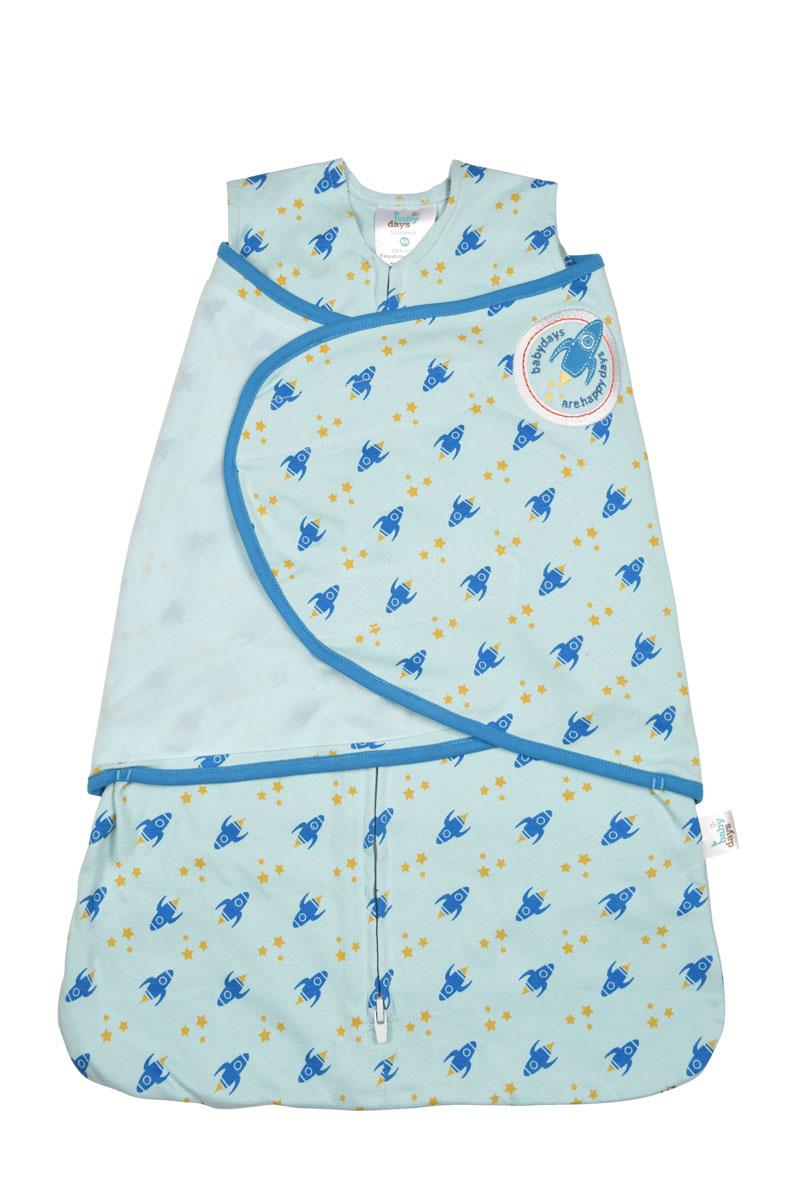 Конверт для новорожденногоbd20001-2Спальный конверт для мальчика Babydays Ракета изготовлен из натурального хлопка. Изделие необычайно мягкое и легкое, не раздражает нежную кожу ребенка, хорошо вентилируется. Модель спроектирована с учетом максимальной безопасности и комфорта, заменяя традиционные одеяльца, которые могут закрыть малышу лицо и затруднить дыхание. Безрукавный крой снижает риск перегрева. Свободный крой не сковывает движения, что важно для правильного развития тазобедренного сустава. Конверт застегивается на пластиковую застежку-молнию снизу вверх, что делает удобным смену подгузников и не травмирует подбородок малыша, и дополнительно запахом на липучки. Модель спального конверта позволяет держать руки малыша как внутри, так и снаружи. Два способа пеленания ребенка показаны на инструкции по использованию. Оформлено изделие принтом с изображением ракет и звезд, украшено аппликацией и вышитыми надписями. Спальный конверт полностью соответствует особенностям жизни...