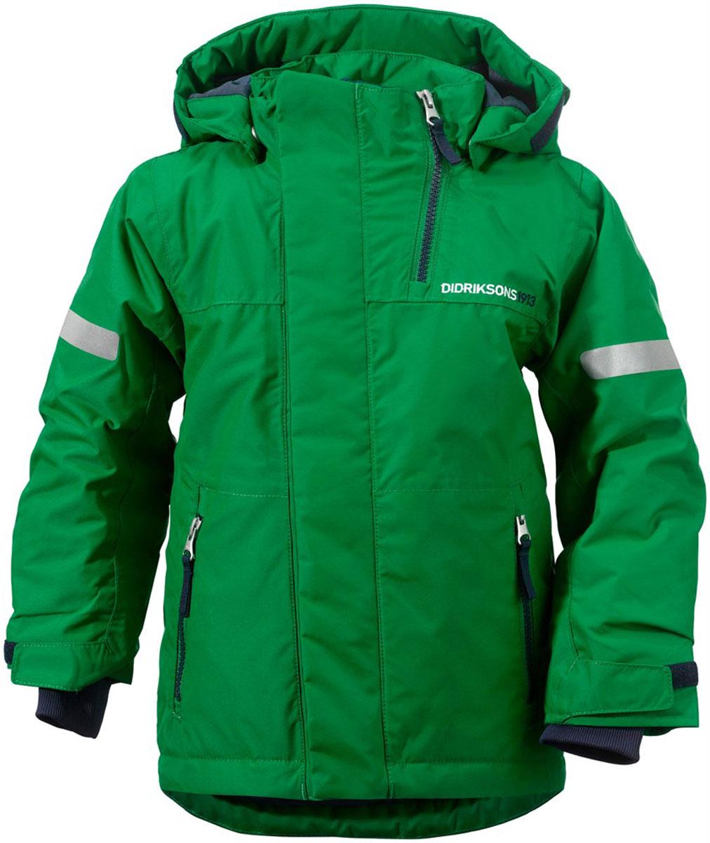 Куртка501023_192Яркая детская куртка Didriksons1913 Rovda идеально подойдет для ребенка в прохладное время года. Куртка выполнена из непромокаемой и непродуваемой мембранной ткани. Наполнитель из синтепона надежно сохранит тепло. Куртка с воротником-стойкой и съемным капюшоном на кнопках застегивается на удобную застежку-молнию спереди и имеет ветрозащитный клапан на липучках и кнопках, объем капюшона регулируется при помощи хлястика на липучках. Воротник дополнен застежкой-молнией, которая позволяет увеличить его объем. Рукава оснащены внутренними трикотажными манжетами и хлястиками на липучках. Низ модели дополнен шнурком-кулиской со стоппером и вставкой на кнопках, дополненной силиконовой лентой, которая обеспечит надежное прилегание и защитит ребенка от ветра, попадания снега и влаги. Спереди расположены два втачных кармана на застежках-молниях. Куртка дополнена светоотражающими полосками на рукавах, спинке и капюшоне. Рассчитана на температуру от -5°С до -20°С (при ...