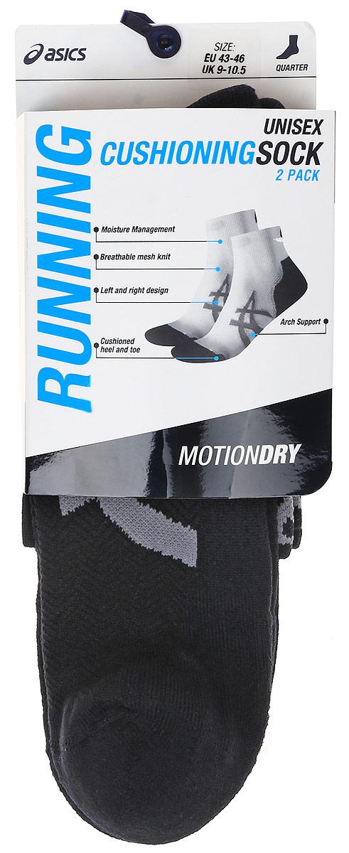 Носки130886-0904Спортивные носки Asics 2ppk Cushioning Sock со стандартным паголенком изготовлены из высококачественного трикотажа. Удобная резинка не сдавливает и комфортно облегает ногу. Они обладают повышенной прочностью, благодаря усиленной пятке и мыску. Воздухопроницаемость и вентиляция за счет тонких сетчатых зон. Плоский шов в зоне большого пальца для предотвращения давления и натирания. Вывод влаги для сухости и комфорта стопы. Усиленная зона подошвы. Поглощение удара. Ребристая структура подошвы для лучшего сцепления. Оформлены носки оригинальным принтом. Идеальное сочетание практичности, легкости и комфорта. В комплект входят две пары носков.
