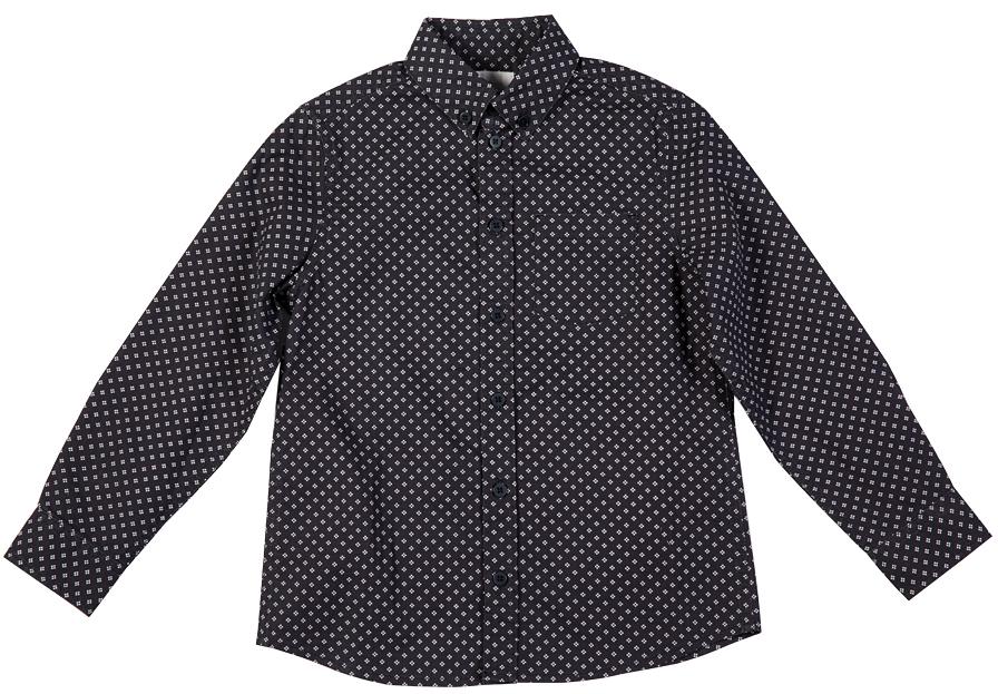 Рубашка216BBBC23021004Модная рубашка для мальчика должна выглядеть именно так: актуальный силуэт и приятная на ощупь ткань в мелкий равномерный рисунок. Модель выполнена из высококачественного материала, застегивается на пуговицы.