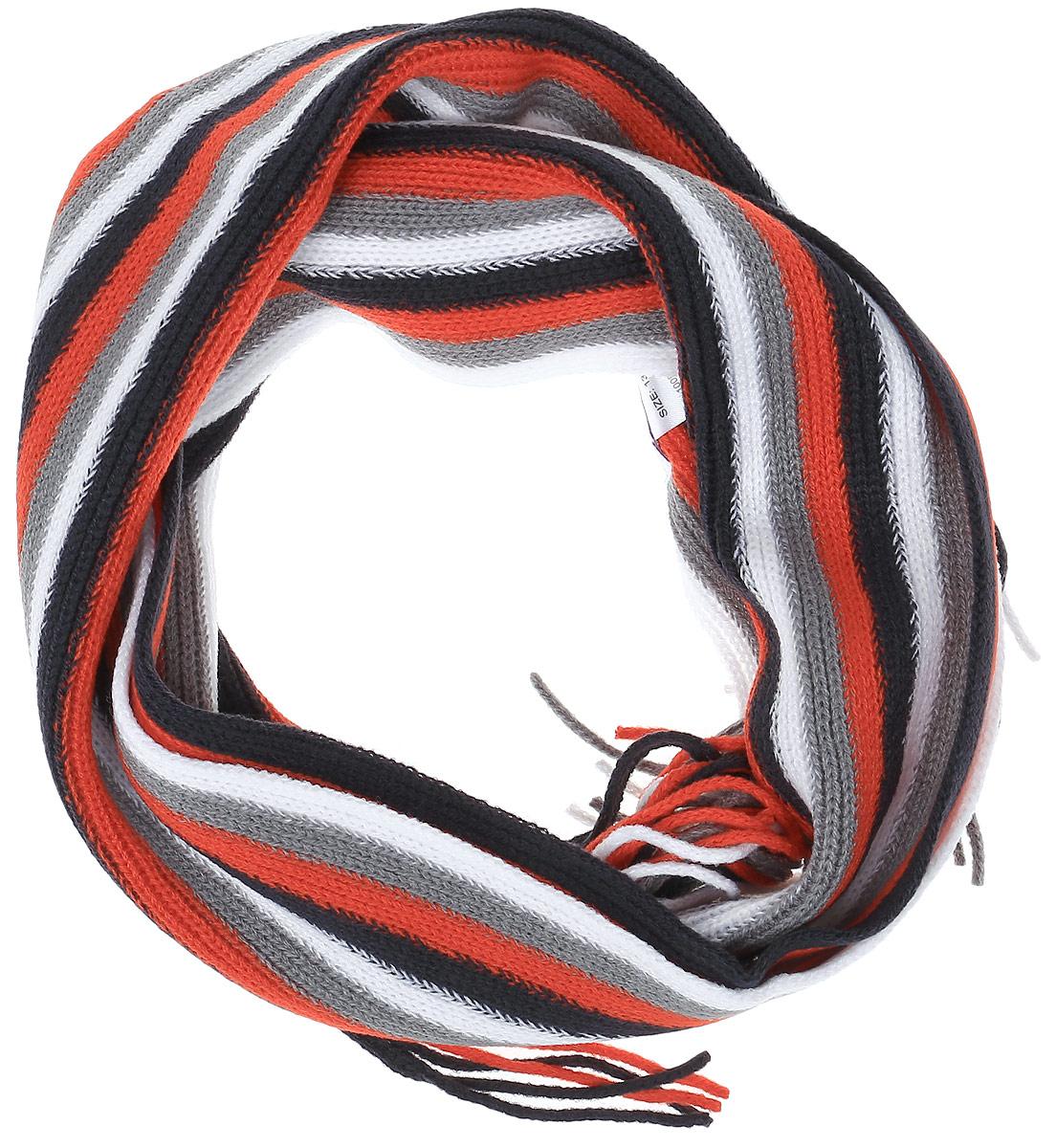 361132Вязаный шарф для мальчика PlayToday идеально подойдет вашему малышу для прогулок на свежем воздухе. Изготовленный из акрила, он необычайно мягкий и приятный на ощупь, хорошо сохраняет тепло. Изделие по краям дополнено бахромой. Оформлена модель принтом в полоску. Шарф подарит тепло, уют и комфорт, а также красиво завершит образ ребенка.