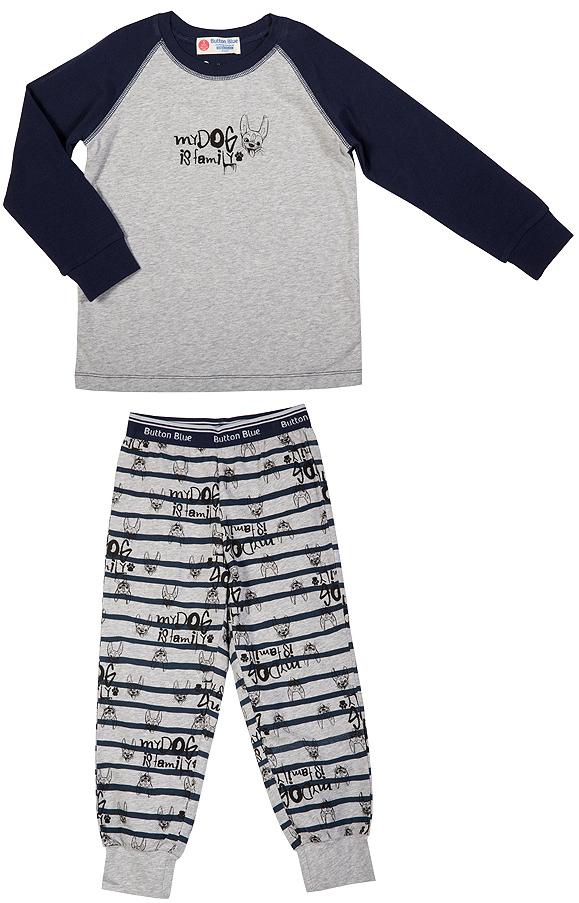 Пижама216BBBU97011007Уютная пижама с длинным рукавом - прекрасный комплект для комфортного сна и хороших сновидений. Трикотажную пижаму для мальчика украшает крупный интересный принт.
