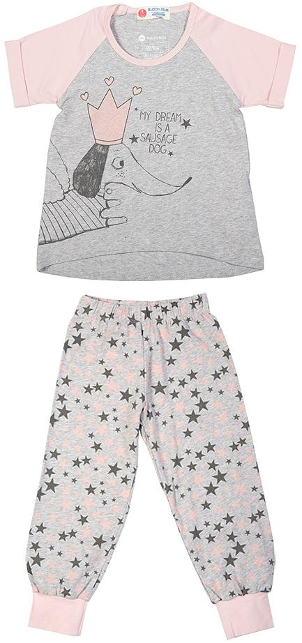 Пижама216BBGU97011901Уютная пижама с коротким рукавом - прекрасный комплект для комфортного сна и хороших сновидений. Трикотажную пижаму для девочки украшает крупный интересный принт.
