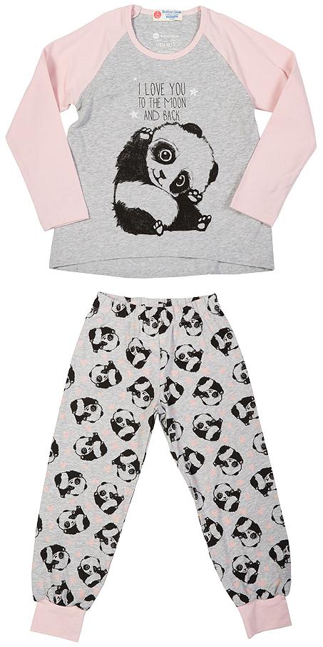 216BBGU97011907Уютная пижама с длинным рукавом - прекрасный комплект для комфортного сна и хороших сновидений. Трикотажную пижаму для девочки украшает крупный интересный принт.