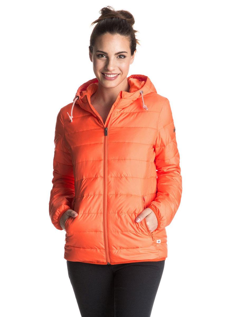 КурткаERJJK03158-KVJ0Женская куртка с капюшоном стеганого дизайна. На полосатой утяжке. Модель застегивается удобной бесшумной молнией. Куртка приталенного кроя с водоотталкивающей пропиткой. Возможно использовать как второй слой. Расчитана на температурный режим до -5 градусов.