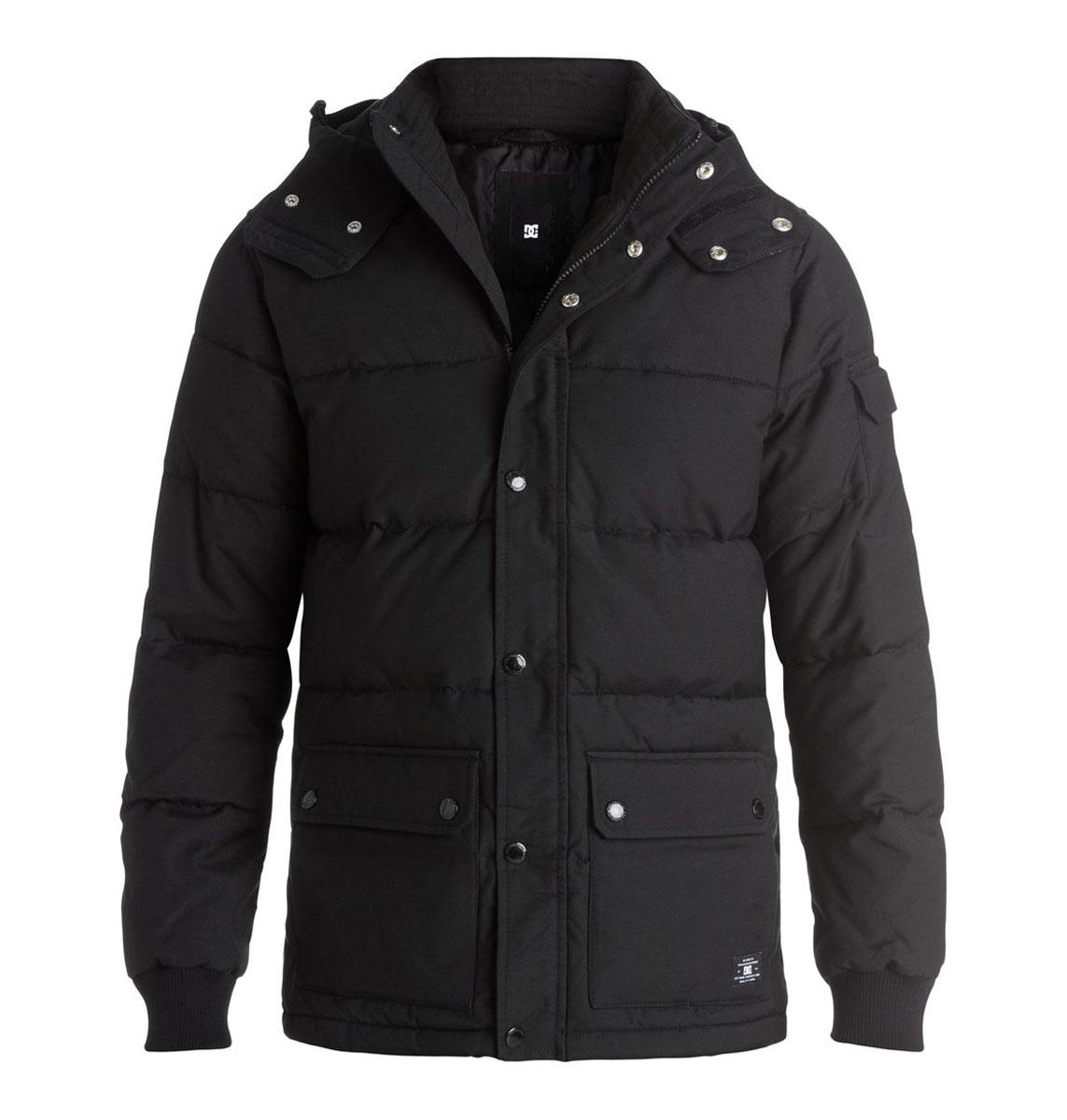 КурткаEDYJK03072-KVJ0Мужская куртка DC Shoes с длинными рукавами и съемным капюшоном на кнопках выполнена из хлопка с добавлением нейлона. Наполнитель - синтепон. . Куртка застегивается на застежку-молнию спереди и имеет ветрозащитный клапан на кнопках. Изделие оснащено двумя накладными карманами с клапанами на кнопках спереди и внутренним накладным карманом на липучке. Рукава дополнены трикотажными манжетами. Объем капюшона регулируется при помощи шнурка-кулиски. Низ изделия также оснащен шнурком-кулиской.