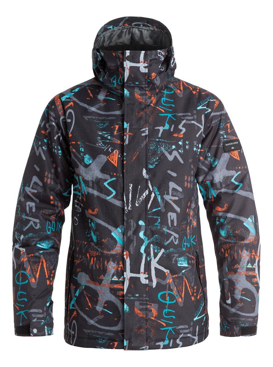 КурткаEQYTJ03069-BGZ7Мужская куртка Quiksilver выполнена из 100% полиэстера. Модель с капюшоном и длинными рукавами застегивается на застежку-молнию и липучки. Капюшон пристегивается при помощи кнопок и дополнен шнурком-кулиской. Низ рукавов дополнен хлястиками на липучках и трикотажными манжетами. Спереди расположено два прорезных кармана, а на левом рукаве - карман на молнии. Внутри один накладной, сетчатый карман на липучке. Низ куртки регулируется при помощи эластичного шнурка с стопперами. Изделие оформлено оригинальным принтом.
