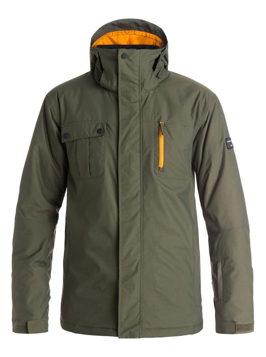КурткаEQYTJ03068-CSN0Мужская куртка Quiksilver Mission Solid выполнена из 100% нейлона. В качестве подкладки и утеплителя используется 100% полиэстер. Материл изготовлен при помощи технологии DryFlight и WarmFlight. Технология DryFlight предназначена для того, чтобы обеспечить ощущение сухости и тепла, а также защитить от перегревания, а технология WarmFlight гарантирует вам теплый уют даже в условиях откровенного ненастья. Модель с воротником-стойкой и съемным капюшоном застегивается на застежку-молнию с защитой для подбородка и имеет ветрозащитную планку на липучках и кнопках. Край капюшона дополнен эластичным шнурком-кулиской. Капюшон пристёгивается к изделию за счет кнопок. Низ рукавов дополнен эластичными манжетами и хлястиком на липучке, а низ изделия эластичным шнурком-кулиской со стоплерами. С внутренней стороны модель имеет не съемную ветрозащитную планку с прорезиненным краем. Внутренняя часть проймы дополнена застежкой-молнией и сетчатой вставкой для лучшей вентиляции. Спереди расположено два...