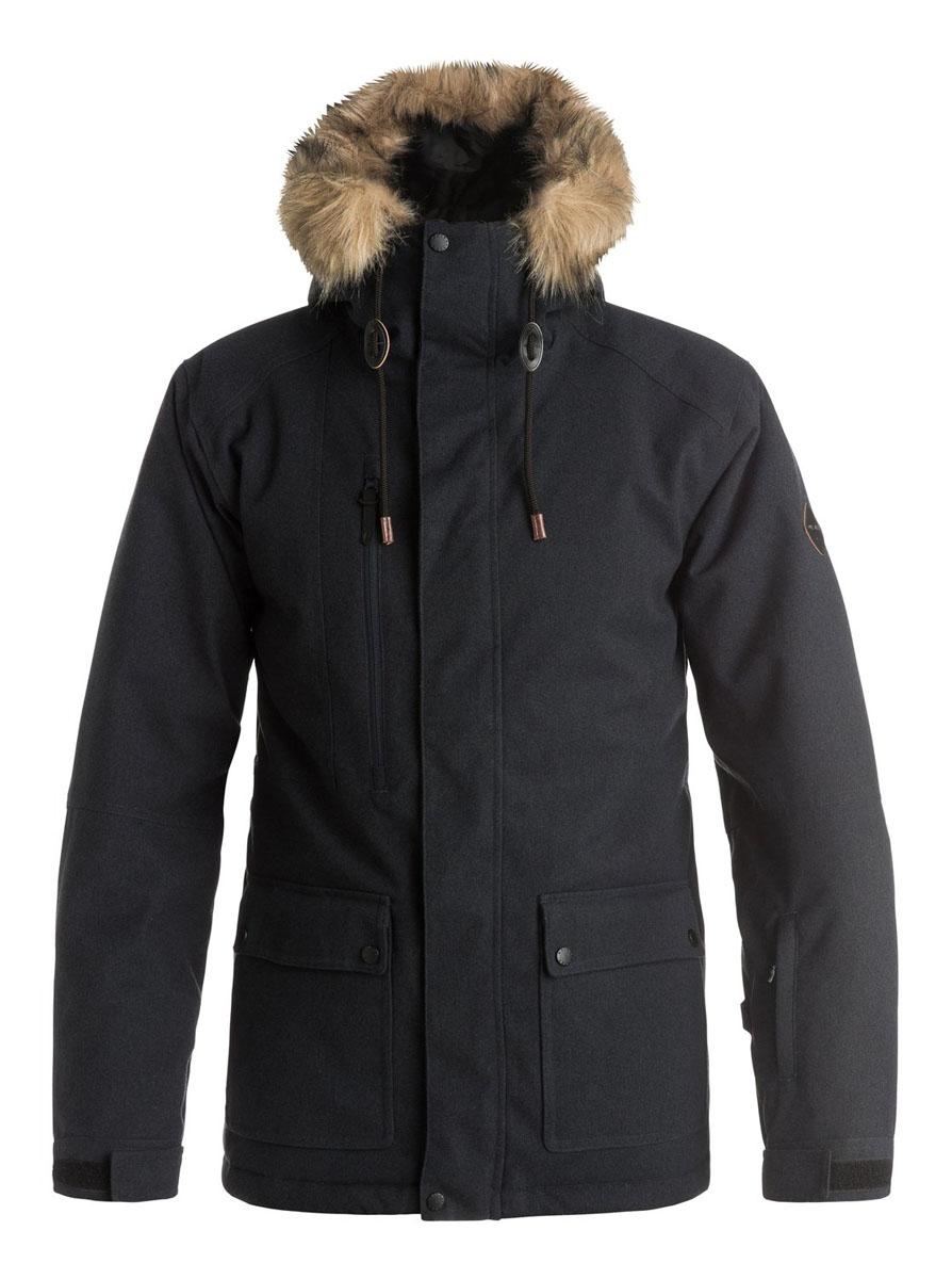 КурткаEQYTJ03062-KVJ0Мужская куртка Quiksilver Selector выполнена из 100% полиэстера. В качестве подкладки и утеплителя также используется полиэстер. Материл изготовлен при помощи технологии DryFlight и WarmFlight. Технология DryFlight предназначена для того, чтобы обеспечить ощущение сухости и тепла, а также защитить от перегревания, а технология WarmFlight гарантирует вам теплый уют даже в условиях откровенного ненастья. Модель с несъемным капюшоном застегивается на застежку-молнию с защитой для подбородка и имеет ветрозащитную планку на липучках и кнопках. Край капюшона оформлен искусственным мехом и дополнен шнурком-кулиской. Мех пристёгивается к капюшону за счет кнопок. Низ рукавов дополнен эластичными манжетами и хлястиком на липучке, а низ изделия эластичным шнурком-кулиской. С внутренней стороны модель имеет съемную ветрозащитную планку с прорезиненным краем. Внутренняя часть проймы дополнена застежкой-молнией и сетчатой вставкой для лучшей вентиляции. Спереди расположено два накладных кармана с...