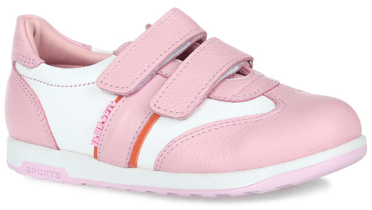 ПолуботинкиTas471-09Модные полуботинки Таши Орто заинтересуют вашу девочку с первого взгляда. Модель выполнена из натуральной кожи. Ремешки на застежке-липучке помогают оптимально подогнать полноту обуви по ноге и гарантируют надежную фиксацию. Благодаря таким застежкам ребенок может самостоятельно надевать обувь. Боковая сторона изделия декорирована логотипом бренда. Анатомическая стелька из натуральной кожи с супинатором, не продавливающимся во время носки, обеспечивает правильное формирование стопы. Благодаря использованию современных внутренних материалов оптимально распределяется нагрузка по всей площади стопы, что дает ножке ощущение мягкости и комфорта. Полужесткий задник фиксирует ножку ребенка. Мягкая верхняя часть, которая плотно прилегает к ноге, и подкладка, изготовленная из натуральной кожи, позволяют избежать натирания. Ортопедическая подошва незаменима для правильного распределения нагрузки на опорно-двигательный аппарат ребенка.