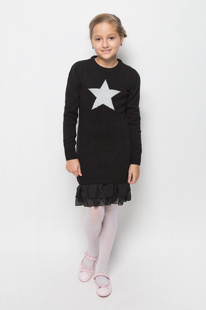 Платье364137Стильное платье для девочки Scool отлично подойдет юной моднице. Выполненное из вязаного трикотажа, оно мягкое и приятное на ощупь, не сковывает движения, обеспечивая комфорт. Платье с длинными рукавами и круглым вырезом горловины дополнено снизу двойной шифоновой оборкой. Вырез горловины, манжеты и низ изделия связаны резинкой. Украшено платье изображением звездочки с люрексной нитью. Стильное сочетание разных фактур и материалов придают платью неповторимый стиль и индивидуальность. В таком платье ваша принцесса всегда будет в центре внимания!
