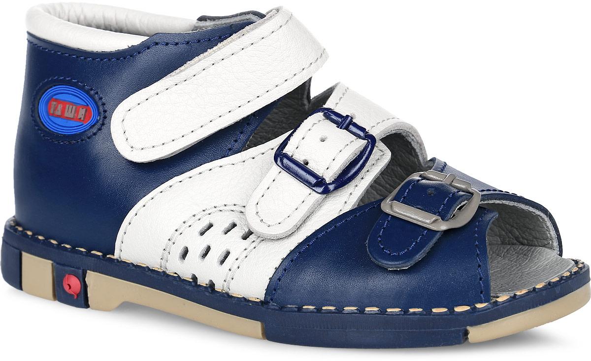 Tas321-96Стильные детские сандалии Таши Орто заинтересуют вашего ребенка с первого взгляда. Модель выполнена из натуральной кожи контрастных цветов. Ремешок на застежке-липучке и ремешки на застежке-пряжке помогают оптимально подогнать полноту обуви по ноге и гарантируют надежную фиксацию. Благодаря такой застежке ребенок может самостоятельно надевать обувь. Сбоку сандалии декорированы символикой бренда. Анатомическая стелька из натуральной кожи с супинатором, не продавливающимся во время носки, обеспечивает правильное формирование стопы. Благодаря использованию современных внутренних материалов оптимально распределяется нагрузка по всей площади стопы, что дает ножке ощущение мягкости и комфорта. Полужесткий задник фиксирует ножку ребенка. Мягкая верхняя часть, которая плотно прилегает к ноге, и подкладка, изготовленная из натуральной кожи, позволяют избежать натирания. У изделия ортопедический каблук Томаса высотой от 2 до 5 мм (в зависимости от размера обуви), продленный с внутренней...