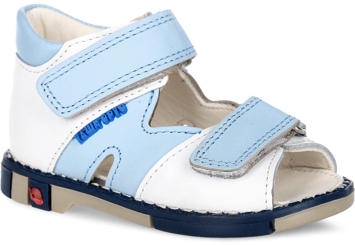 Tas260-062Модные сандалии Таши Орто заинтересуют вашего мальчика с первого взгляда. Модель выполнена из натуральной кожи. Ремешки на застежке- липучке помогают оптимально подогнать полноту обуви по ноге и гарантируют надежную фиксацию. Благодаря такой застежке надевать обувь очень удобно. Анатомическая стелька из натуральной кожи с супинатором, не продавливающимся во время носки, обеспечивает правильное формирование стопы. Благодаря использованию современных внутренних материалов оптимально распределяется нагрузка по всей площади стопы, что дает ножке ощущение мягкости и комфорта. Полужесткий задник фиксирует ножку ребенка. Мягкая верхняя часть, которая плотно прилегает к ноге, и подкладка, изготовленная из натуральной кожи, позволяют избежать натирания. У изделия ортопедический каблук Томаса высотой от 2 до 5 мм (в зависимости от размера обуви), продленный с внутренней стороны подошвы, его внутренняя часть длиннее наружной, укрепляет подошву под средней частью стопы и ...