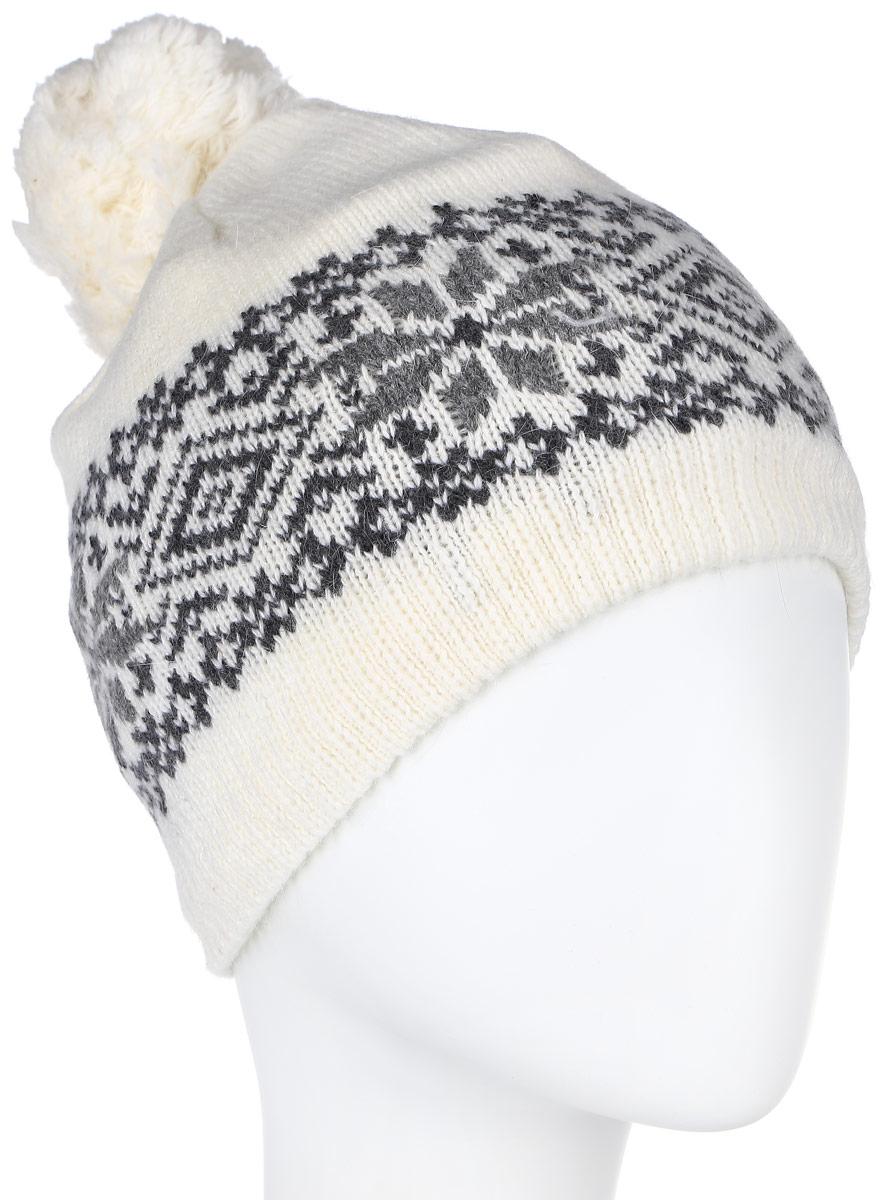 ШапкаHAk-141/014M-6404Стильная вязаная женская шапка Sela идеально подойдет для прогулок в прохладное время года. Изготовленная из нейлона с добавлением шерсти и ангоры, она обладает хорошими дышащими свойствами и хорошо удерживает тепло. Шапка декорирована интересным принтом. Понизу проходит широкая вязаная резинка. На макушке модель украшена небольшим помпоном Такая шапка станет модным и стильным предметом вашего гардероба. Она улучшит настроение даже в хмурые прохладные дни! Уважаемые клиенты! Размер, доступный для заказа, является обхватом головы.