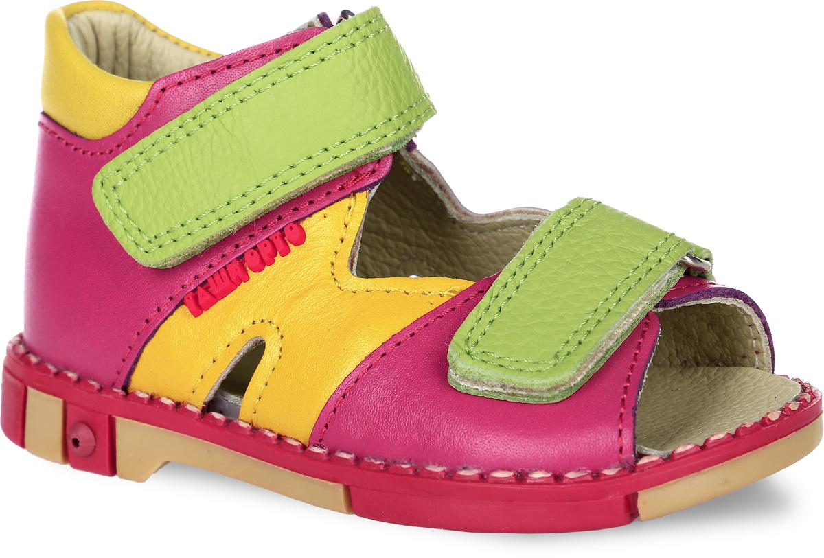 СандалииTas260-65Модные сандалии Таши Орто заинтересуют вашу девочку с первого взгляда. Модель выполнена из натуральной кожи. Застежки-липучки надежно фиксируют голеностоп и одновременно регулируют полноту, не ослабевают в процессе ежедневной носки, важный элемент ортопедической обуви. Анатомическая стелька из натуральной кожи с супинатором, не продавливающимся во время носки, обеспечивает правильное формирование стопы. Благодаря использованию современных внутренних материалов оптимально распределяется нагрузка по всей площади стопы, что дает ножке ощущение мягкости и комфорта. Полужесткий задник фиксирует ножку ребенка. Мягкая верхняя часть, которая плотно прилегает к ноге, и подкладка, изготовленная из натуральной кожи, позволяют избежать натирания. У изделия ортопедический каблук, продленный с внутренней стороны подошвы, его внутренняя часть длиннее наружной, укрепляет подошву под средней частью стопы и препятствует заваливанию стопы внутрь (что обычно наблюдается при вальгусной...