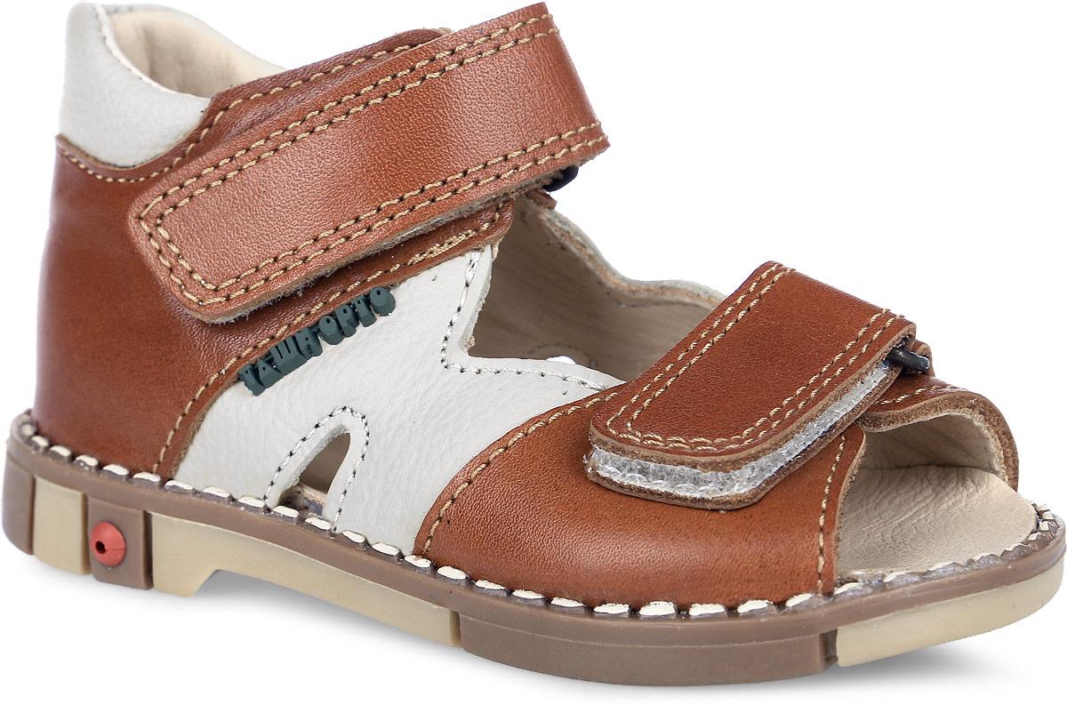 Tas260-032Стильные детские сандалии Таши Орто заинтересуют вашего ребенка с первого взгляда. Модель выполнена из натуральной кожи контрастных цветов. Ремешки на застежке-липучке помогают оптимально подогнать полноту обуви по ноге и гарантируют надежную фиксацию. Благодаря такой застежке ребенок может самостоятельно надевать обувь. Сбоку сандалии декорированы символикой бренда. Анатомическая стелька из натуральной кожи с супинатором, не продавливающимся во время носки, обеспечивает правильное формирование стопы. Благодаря использованию современных внутренних материалов оптимально распределяется нагрузка по всей площади стопы, что дает ножке ощущение мягкости и комфорта. Полужесткий задник фиксирует ножку ребенка. Мягкая верхняя часть, которая плотно прилегает к ноге, и подкладка, изготовленная из натуральной кожи, позволяют избежать натирания. У изделия ортопедический каблук Томаса высотой от 2 до 5 мм (в зависимости от размера обуви), продленный с внутренней стороны подошвы, его...