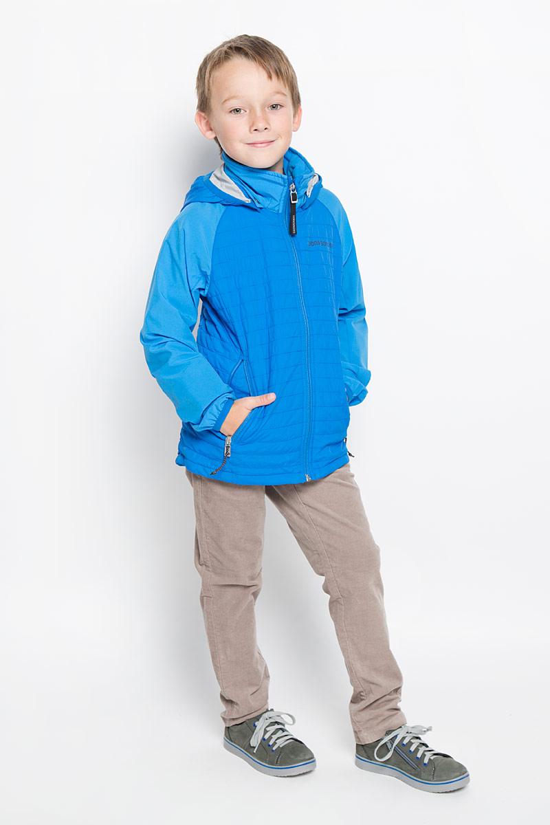 Куртка500737_332Куртка для мальчика Didriksons1913 Jay, изготовленная из высококачественного комбинированного материала, станет стильным дополнением к детскому гардеробу. Подкладка изделия выполнена из полиамида. Модель со съемным капюшоном, воротником-стойкой и длинными рукавами-реглан застегивается на пластиковую застежку-молнию с защитой для подбородка и дополнительно имеет внутреннюю ветрозащитную планку. Капюшон пристегивается к изделию за счет кнопок. Кай капюшона и низ рукавов обработаны эластичными бейками. Спереди расположено два прорезных кармана на застежке-молнии. Изделие спереди и сзади оформлено термоаппликацией в виде логотипа бренда. Красивый цвет, модный силуэт обеспечивают куртке прекрасный внешний вид! Такая удобная и практичная куртка идеально подойдет для прогулок на свежем воздухе!