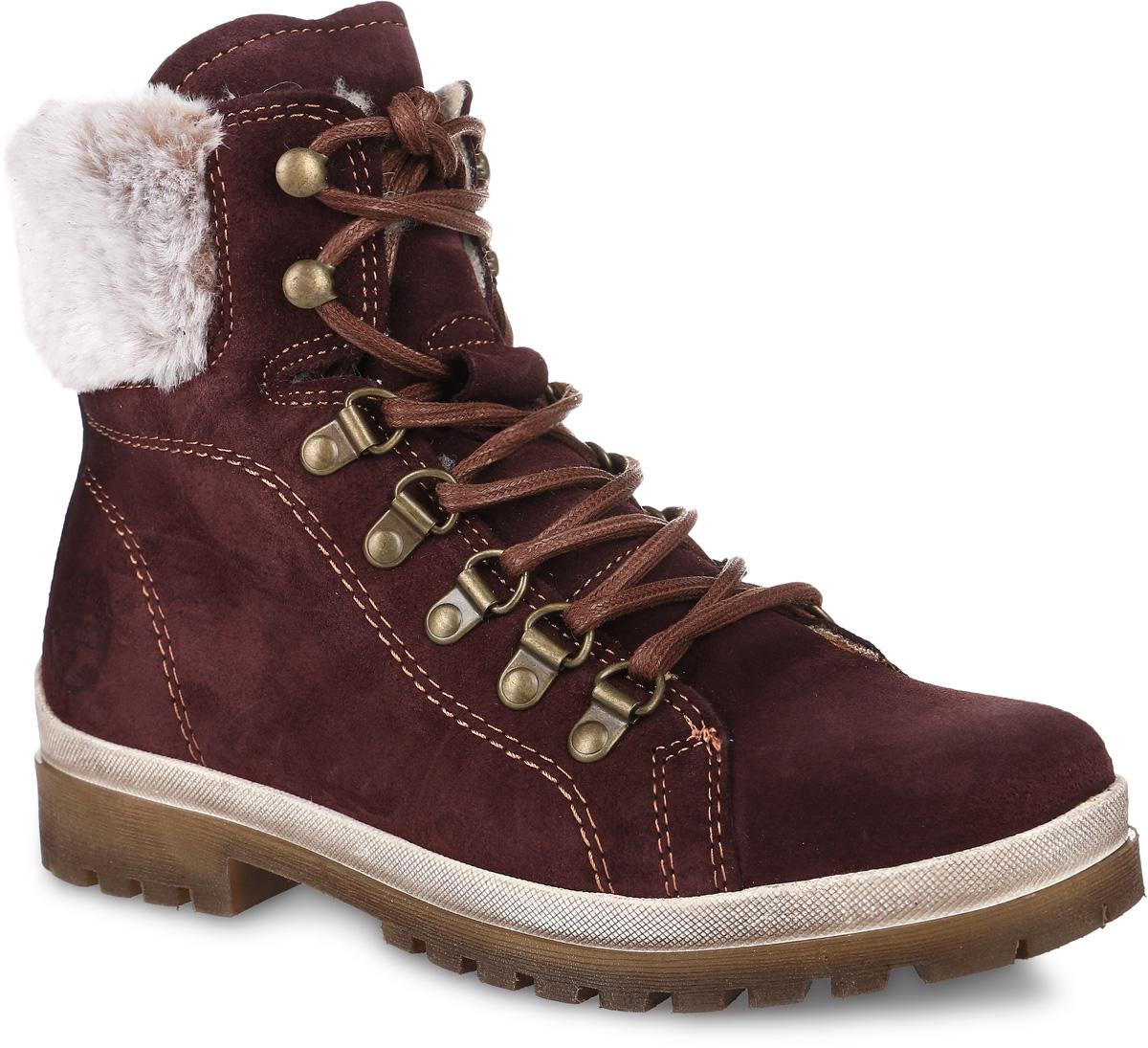 1-26239-27-549Стильные ботинки Tamaris, выполненные из натуральной замши, придутся вам по душе. Задник оформлен тиснением в виде логотипа бренда, верх голенища декорирован меховой полоской, имеется ярлычок для облегчения процесса надевания, шнурки, продетые через металлические петли, надежно зафиксируют изделие на ноге. Внутренняя поверхность и стелька из натуральной шерсти отлично сохранят тепло, обеспечат комфорт и уют вашим ногам. Подошва из прочного материала гарантирует длительную носку и сцепление с любой поверхностью. Модные ботинки сделают вас ярче и подчеркнут индивидуальность.