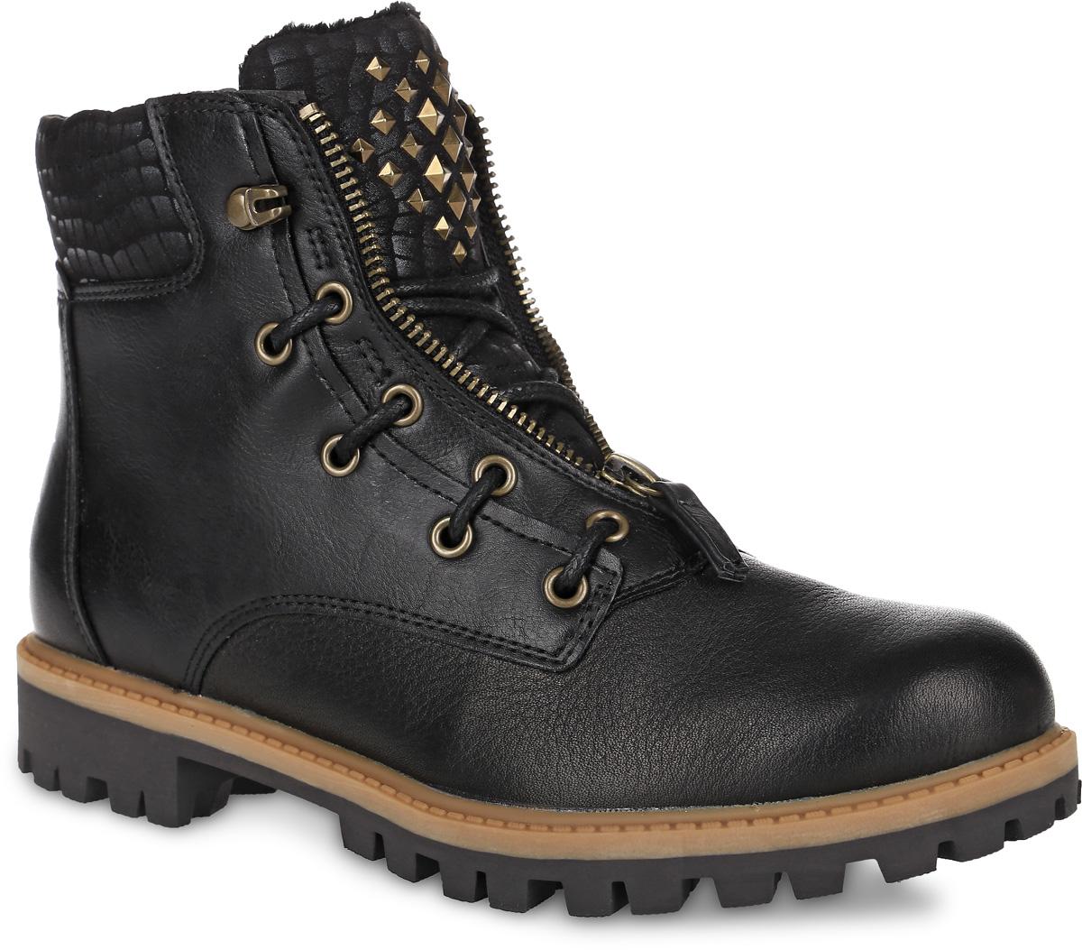 1-25409-27-001Стильные ботинки Tamaris, выполненные из натуральной кожи, придутся вам по душе. Язычок оформлен металлическими плоскими шипами, а вырез - декоративной молнией и шнурками. Внутренняя поверхность и стелька из ворсина отлично сохранят тепло, обеспечат комфорт и уют вашим ногам. Грубая подошва из прочного материала гарантирует длительную носку и сцепление с любой поверхностью. Модные ботинки сделают вас ярче и подчеркнут индивидуальность.