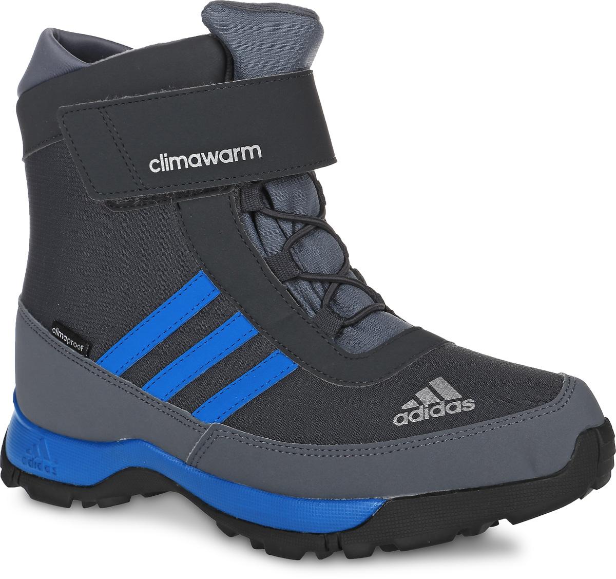 AQ4129Детские ботинки Cw Adisnow Cf Cp от adidas отлично подойдут для активного отдыха. Модель включает в себя такие преимущества как светоотражающий логотип для улучшения видимости и безопасности на открытом воздухе, систему для регулировки и оптимальной посадки, отталкивает влагу, пропускает воздух, мало весит, на 90% состоит из переработанного износостойкого материала. Мембрана Climawarm служит для водонепроницаемой защиты в условиях повышенной влажности и для сохранения тепла. Эластичная шнуровка и ремешок на липучке отлично зафиксируют изделие на ноге. Стильные ботинки необходимы в гардеробе энергичных и активных детей.