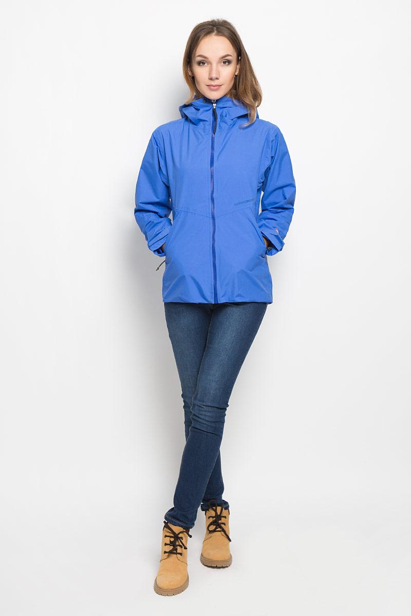 Куртка500455_299Удобная женская куртка Didriksons1913 из непромокаемой и не продуваемой мембранной ткани. Модель выполнена из прочного полиамида, застегивается на молнию и кнопку спереди, и имеет внутреннюю ветрозащитную планку. Модель дополнена фиксированным регулируемым капюшоном, который сворачивается в воротник. Изделие по бокам дополнено двумя втачными карманами на молниях, и одним внутренним на молнии. Молния куртки водонепроницаемая. Рукава регулируются с помощью липучек, а низ куртки регулируется с помощью эластичной резинки со стопперами. Спинка куртки немного удлинена. Так же модель дополнена светоотражающими элементами. Эта модная и в то же время комфортная куртка - отличный вариант для активного отдыха.
