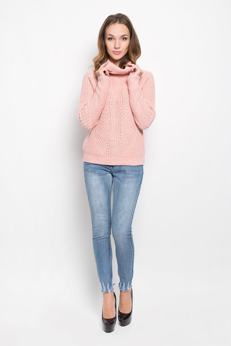 СвитерHS0073_LIGHT ROSEЖенский вязаный свитер Glamorous, выполненный из полиэстера с добавлением акрила, необычайно мягкий и приятный на ощупь, не сковывает движения, обеспечивая наибольший комфорт. Свитер с высоким воротником-гольф и длинными рукавами-реглан идеально гармонирует с любыми предметами одежды и будет уместен и на отдых, и на работу. Низ и манжеты изделия связаны резинкой. Оформлена модель крупной вязкой. Мягкий и уютный свитер станет любимым элементом вашего гардероба.